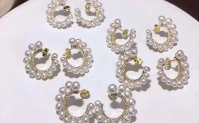Apm同款纯银耳钉 3-5mm无瑕极光馒头圆淡水珠